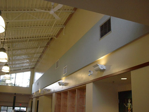 "Glanford Middle School : 2"" Acousti-trac - Acousti-trac 2"" acoustic panels in hallway."